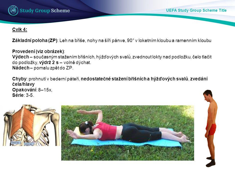 UEFA Study Group Scheme Title Cvik 4: Základní poloha (ZP): Leh na břiše, nohy na šíři pánve, 90° v loketním kloubu a ramenním kloubu Provedení (viz o