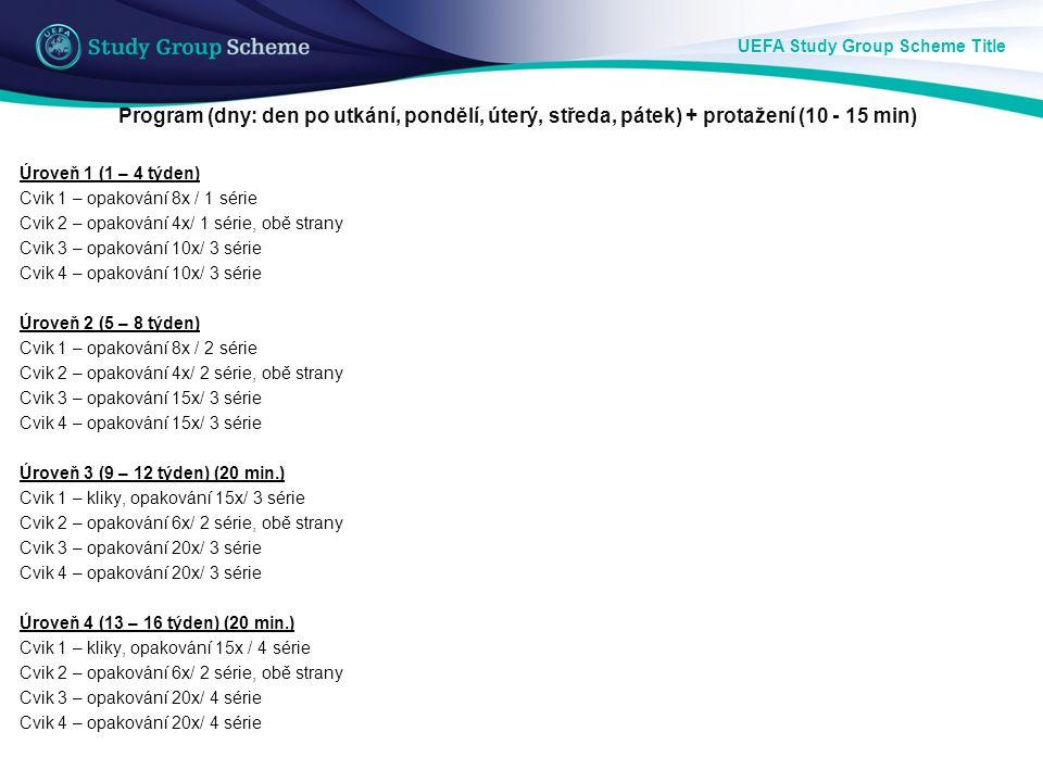 UEFA Study Group Scheme Title Program (dny: den po utkání, pondělí, úterý, středa, pátek) + protažení (10 - 15 min) Úroveň 1 (1 – 4 týden) Cvik 1 – op
