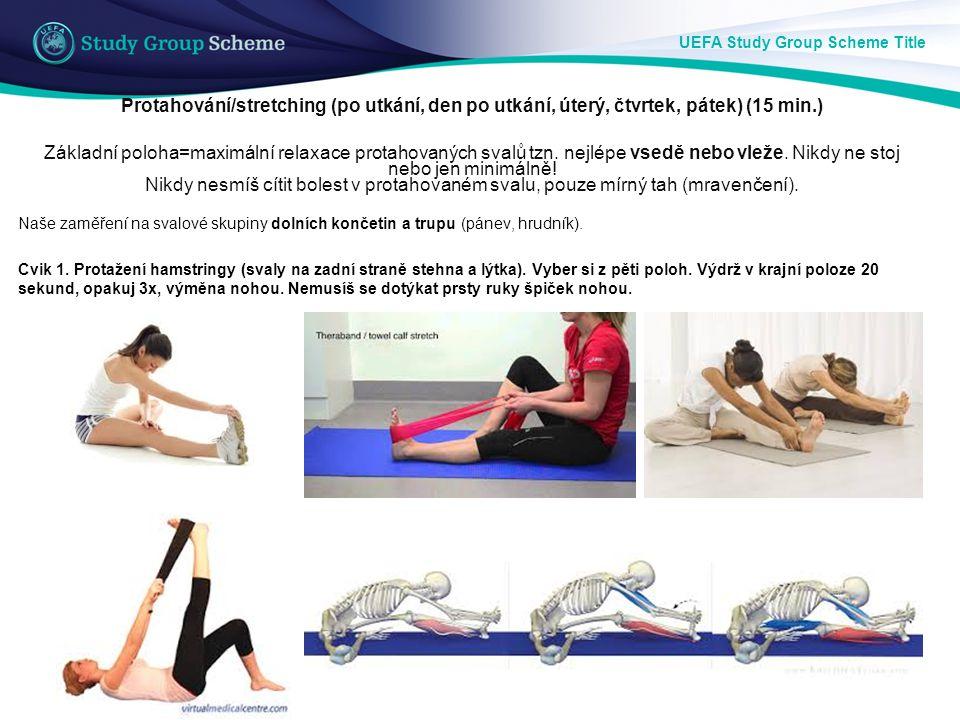 UEFA Study Group Scheme Title Protahování/stretching (po utkání, den po utkání, úterý, čtvrtek, pátek) (15 min.) Základní poloha=maximální relaxace pr