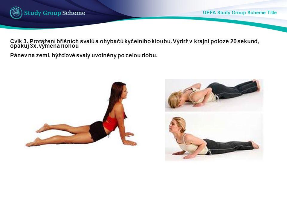UEFA Study Group Scheme Title Cvik 3. Protažení břišních svalů a ohybačů kyčelního kloubu. Výdrž v krajní poloze 20 sekund, opakuj 3x, výměna nohou Pá