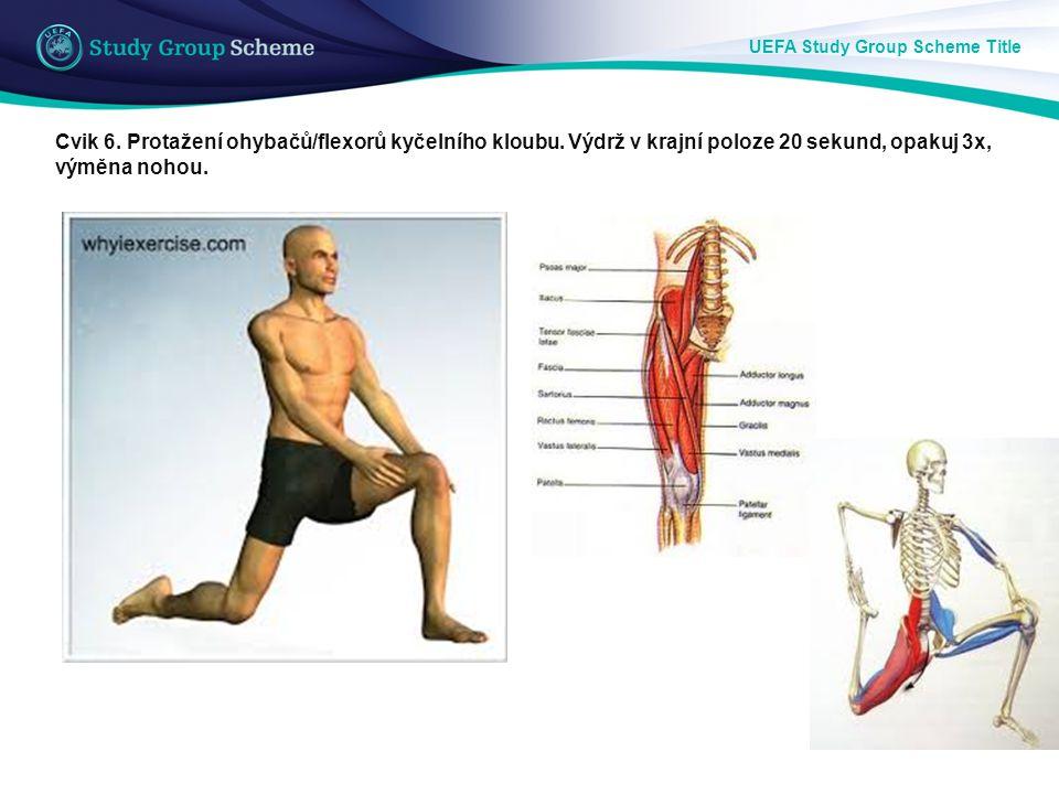 UEFA Study Group Scheme Title Cvik 6. Protažení ohybačů/flexorů kyčelního kloubu. Výdrž v krajní poloze 20 sekund, opakuj 3x, výměna nohou.