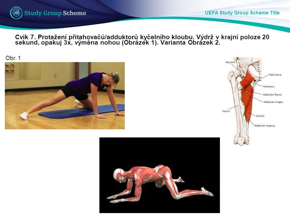 UEFA Study Group Scheme Title Cvik 7. Protažení přitahovačů/adduktorů kyčelního kloubu. Výdrž v krajní poloze 20 sekund, opakuj 3x, výměna nohou (Obrá