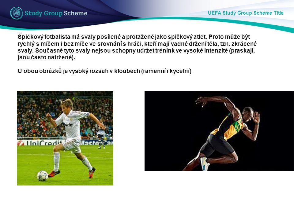 UEFA Study Group Scheme Title Špičkový fotbalista má svaly posílené a protažené jako špičkový atlet. Proto může být rychlý s míčem i bez míče ve srovn