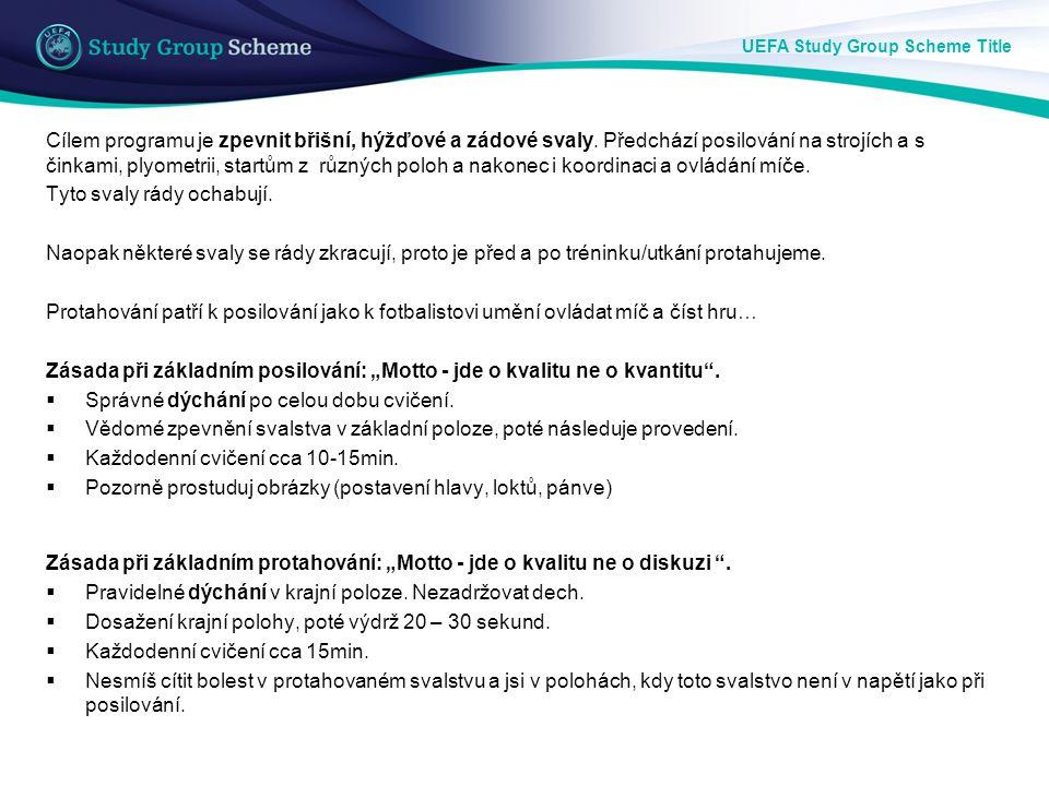 UEFA Study Group Scheme Title Cvik 1: Základní poloha (ZP): Podpor na předloktích, pánev na podložce.