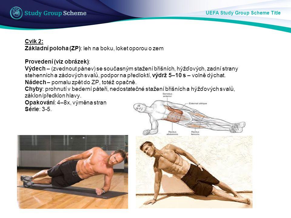 UEFA Study Group Scheme Title Cvik 3: Základní poloha (ZP): leh na zádech, pravý úhel v kolenním kloubu.