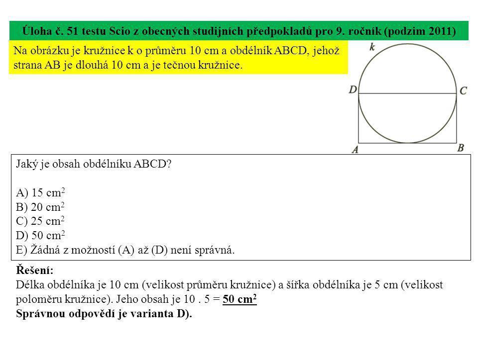 Úloha č.51 testu Scio z obecných studijních předpokladů pro 9.