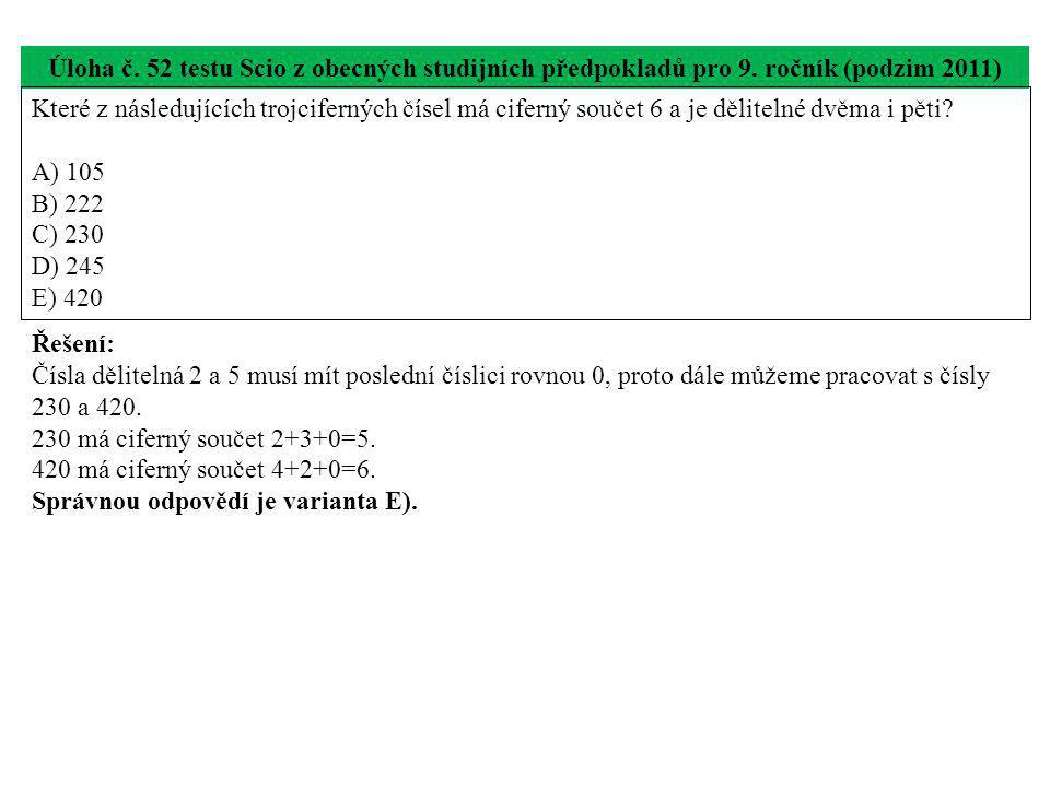 Úloha č.53 testu Scio z obecných studijních předpokladů pro 9.