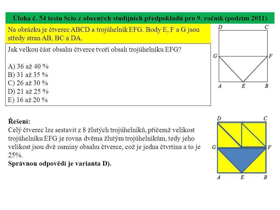 Úloha č.55 testu Scio z obecných studijních předpokladů pro 9.