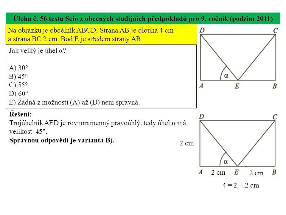 Úloha č.56 testu Scio z obecných studijních předpokladů pro 9.