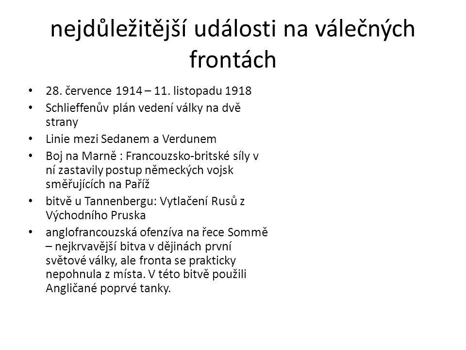 nejdůležitější události na válečných frontách 28. července 1914 – 11. listopadu 1918 Schlieffenův plán vedení války na dvě strany Linie mezi Sedanem a