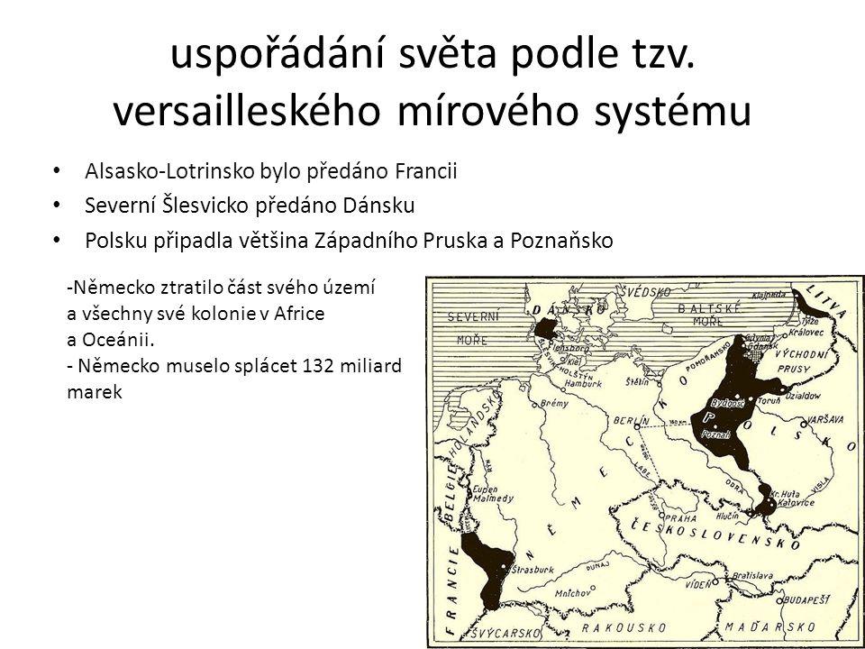 uspořádání světa podle tzv. versailleského mírového systému Alsasko-Lotrinsko bylo předáno Francii Severní Šlesvicko předáno Dánsku Polsku připadla vě