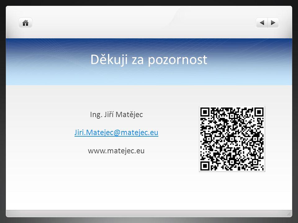 Děkuji za pozornost Ing. Jiří Matějec Jiri.Matejec@matejec.eu www.matejec.eu