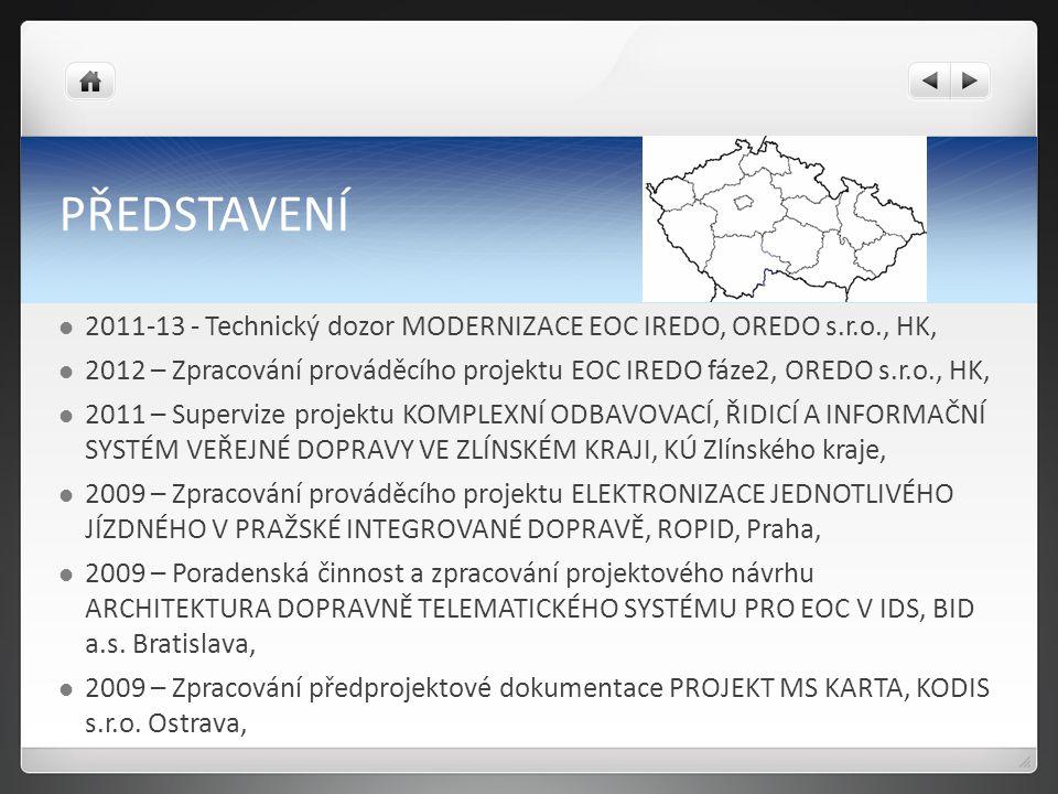 PŘEDSTAVENÍ Spolupráce s SDT: 2007 – 2014 Koordinace činnosti Pracovní skupiny 2010 – ZPRACOVÁNÍ NÁVRHU NAŘÍZENÍ VLÁDY O ELEKTRONICKÝCH SYSTÉMECH PRO PLATBY A ODBAVENÍ CESTUJÍCÍCH VE VEŘEJNÉ DOPRAVĚ (subdodávka SDT pro Ministerstvo dopravy ČR), 2009 – JEDNOTNÁ ARCHITEKTURA PLATEBNÍCH SYSTÉMŮ V DOPRAVĚ (subdodávka SDT pro Ministerstvo dopravy ČR).