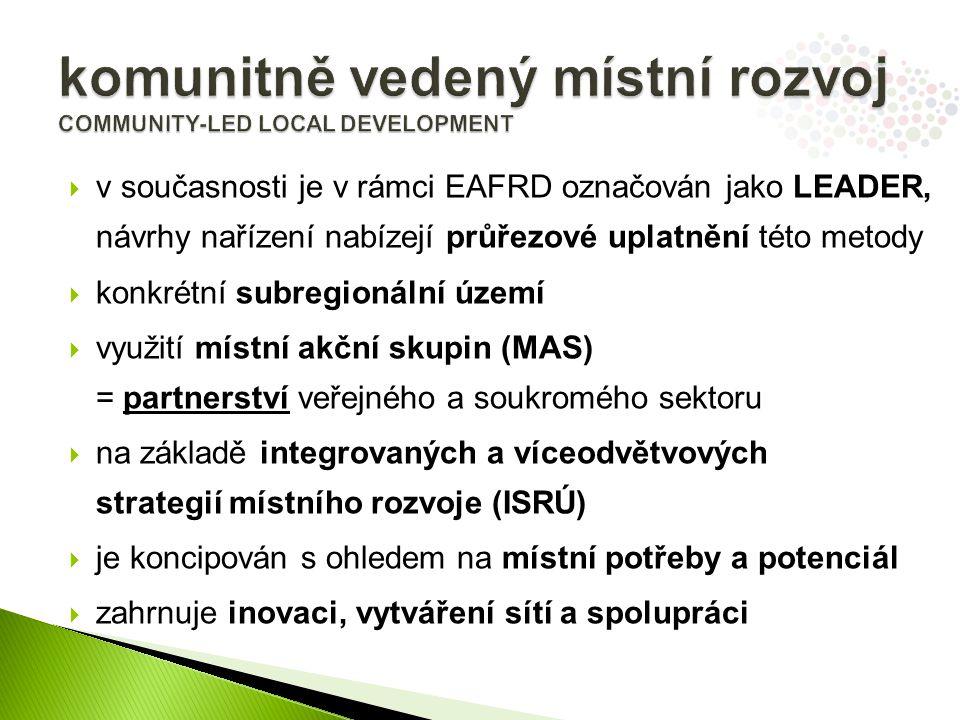  v současnosti je v rámci EAFRD označován jako LEADER, návrhy nařízení nabízejí průřezové uplatnění této metody  konkrétní subregionální území  využití místní akční skupin (MAS) = partnerství veřejného a soukromého sektoru  na základě integrovaných a víceodvětvových strategií místního rozvoje (ISRÚ)  je koncipován s ohledem na místní potřeby a potenciál  zahrnuje inovaci, vytváření sítí a spolupráci