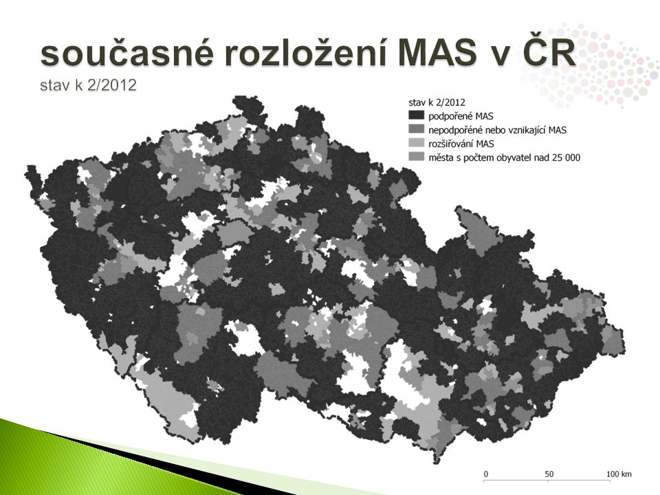 """ v případě požadavku na větší celky než jsou stávající MAS doporučujeme ad-hoc vytvářet společná regionální programová partnerství, kde si všichni partneři budou rovni, nicméně pro potřeby koordinace by byl vždy určen vedoucí partner (princip KMAS)  snaha o maximální pokrytí ČR metodou LEADER ◦ viz mapa ubývajících """"bílých míst MAS 2 MAS 1 město nad 25.000 obyv."""