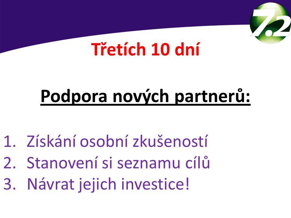 Třetích 10 dní Podpora nových partnerů: 1.Získání osobní zkušeností 2.Stanovení si seznamu cílů 3.Návrat jejich investice!