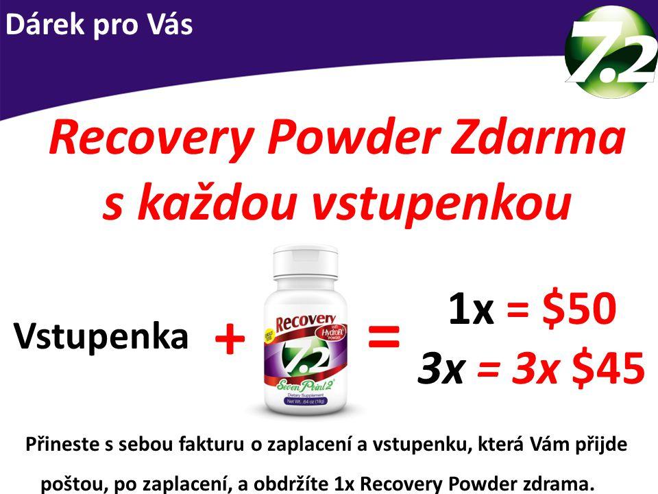 Recovery Powder Zdarma s každou vstupenkou 1x = $50 3x = 3x $45 = + Vstupenka Přineste s sebou fakturu o zaplacení a vstupenku, která Vám přijde poštou, po zaplacení, a obdržíte 1x Recovery Powder zdrama.