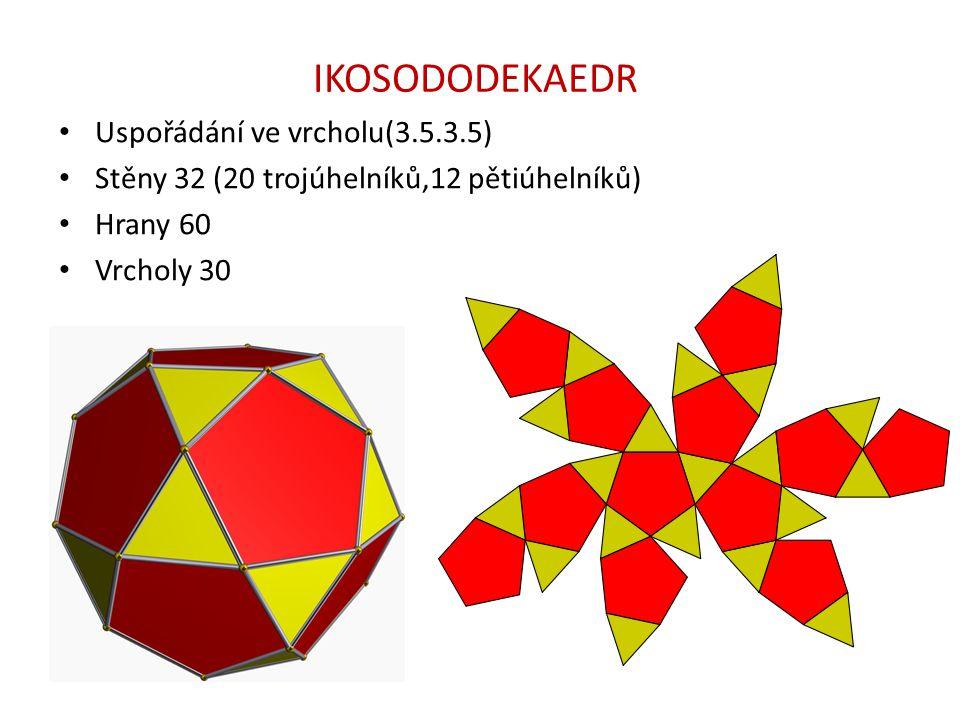 IKOSODODEKAEDR Uspořádání ve vrcholu(3.5.3.5) Stěny 32 (20 trojúhelníků,12 pětiúhelníků) Hrany 60 Vrcholy 30