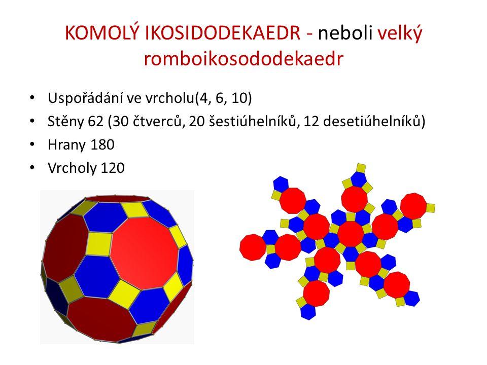 KOMOLÝ IKOSIDODEKAEDR - neboli velký romboikosododekaedr Uspořádání ve vrcholu(4, 6, 10) Stěny 62 (30 čtverců, 20 šestiúhelníků, 12 desetiúhelníků) Hr
