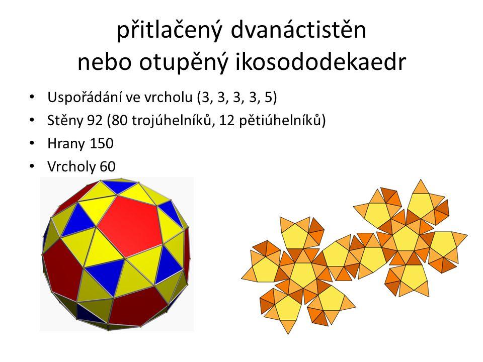 přitlačený dvanáctistěn nebo otupěný ikosododekaedr Uspořádání ve vrcholu (3, 3, 3, 3, 5) Stěny 92 (80 trojúhelníků, 12 pětiúhelníků) Hrany 150 Vrchol