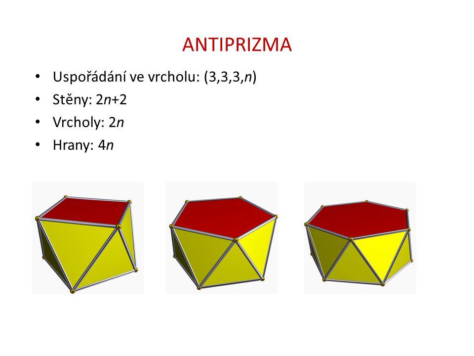 ANTIPRIZMA Uspořádání ve vrcholu: (3,3,3,n) Stěny: 2n+2 Vrcholy: 2n Hrany: 4n