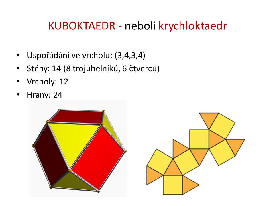 KUBOKTAEDR - neboli krychloktaedr Uspořádání ve vrcholu: (3,4,3,4) Stěny: 14 (8 trojúhelníků, 6 čtverců) Vrcholy: 12 Hrany: 24