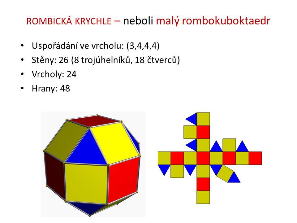 ROMBICKÁ KRYCHLE – neboli malý rombokuboktaedr Uspořádání ve vrcholu: (3,4,4,4) Stěny: 26 (8 trojúhelníků, 18 čtverců) Vrcholy: 24 Hrany: 48