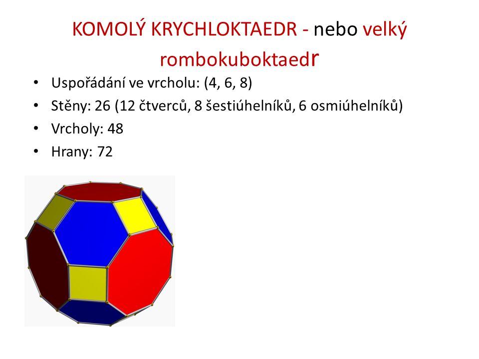 KOMOLÝ KRYCHLOKTAEDR - nebo velký rombokuboktaed r Uspořádání ve vrcholu: (4, 6, 8) Stěny: 26 (12 čtverců, 8 šestiúhelníků, 6 osmiúhelníků) Vrcholy: 4