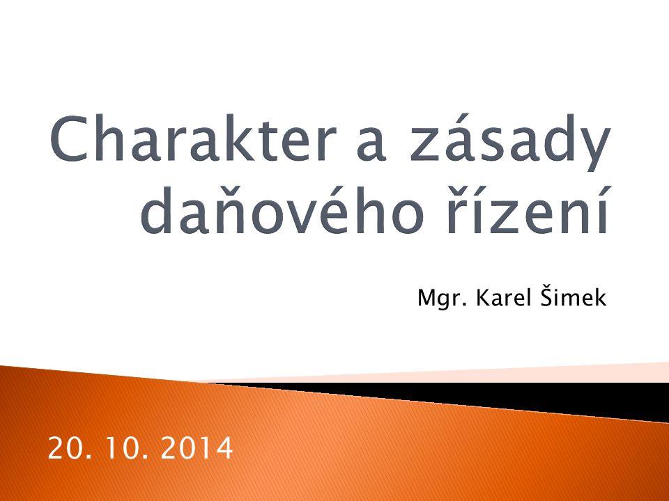 Mgr. Karel Šimek 20. 10. 2014