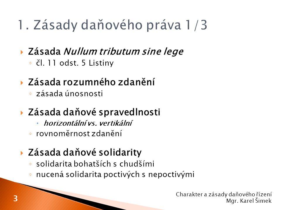  Zásada Nullum tributum sine lege ◦ čl. 11 odst. 5 Listiny  Zásada rozumného zdanění ◦ zásada únosnosti  Zásada daňové spravedlnosti  horizontální