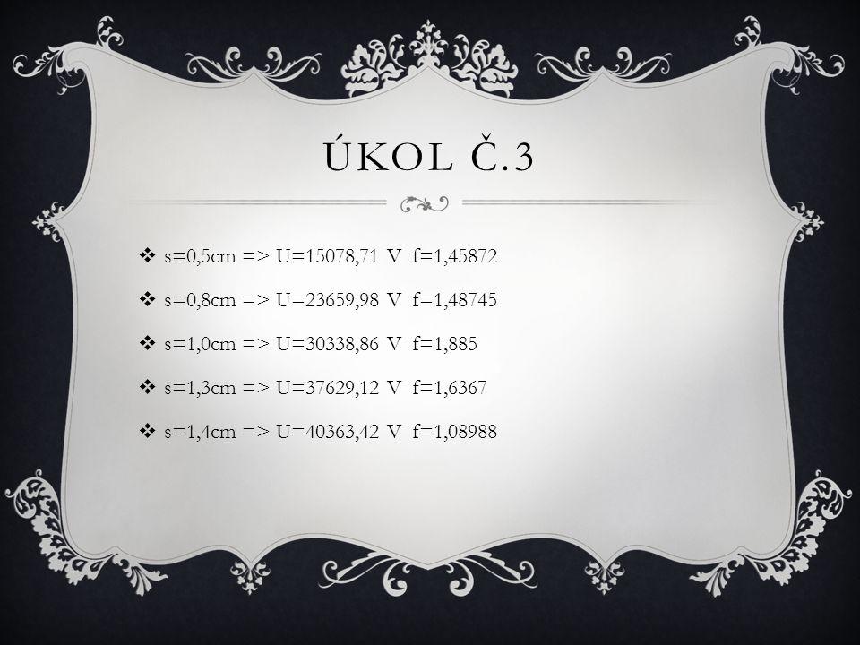  s=0,5cm => U=15078,71 V f=1,45872  s=0,8cm => U=23659,98 V f=1,48745  s=1,0cm => U=30338,86 V f=1,885  s=1,3cm => U=37629,12 V f=1,6367  s=1,4cm => U=40363,42 V f=1,08988