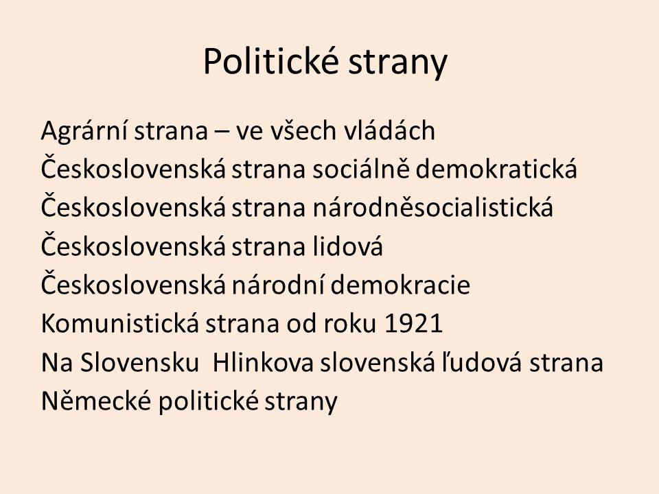 Politické strany Agrární strana – ve všech vládách Československá strana sociálně demokratická Československá strana národněsocialistická Českoslovens