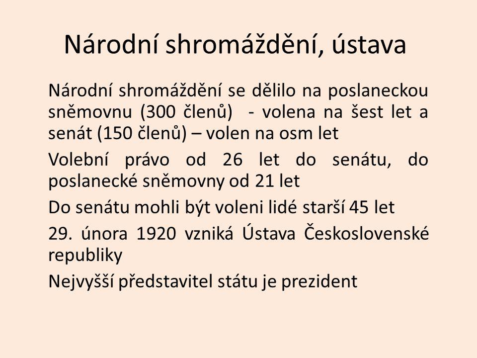 Národní shromáždění, ústava Národní shromáždění se dělilo na poslaneckou sněmovnu (300 členů) - volena na šest let a senát (150 členů) – volen na osm