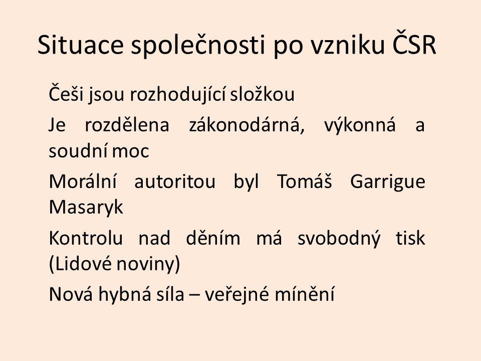 Situace společnosti po vzniku ČSR Češi jsou rozhodující složkou Je rozdělena zákonodárná, výkonná a soudní moc Morální autoritou byl Tomáš Garrigue Masaryk Kontrolu nad děním má svobodný tisk (Lidové noviny) Nová hybná síla – veřejné mínění