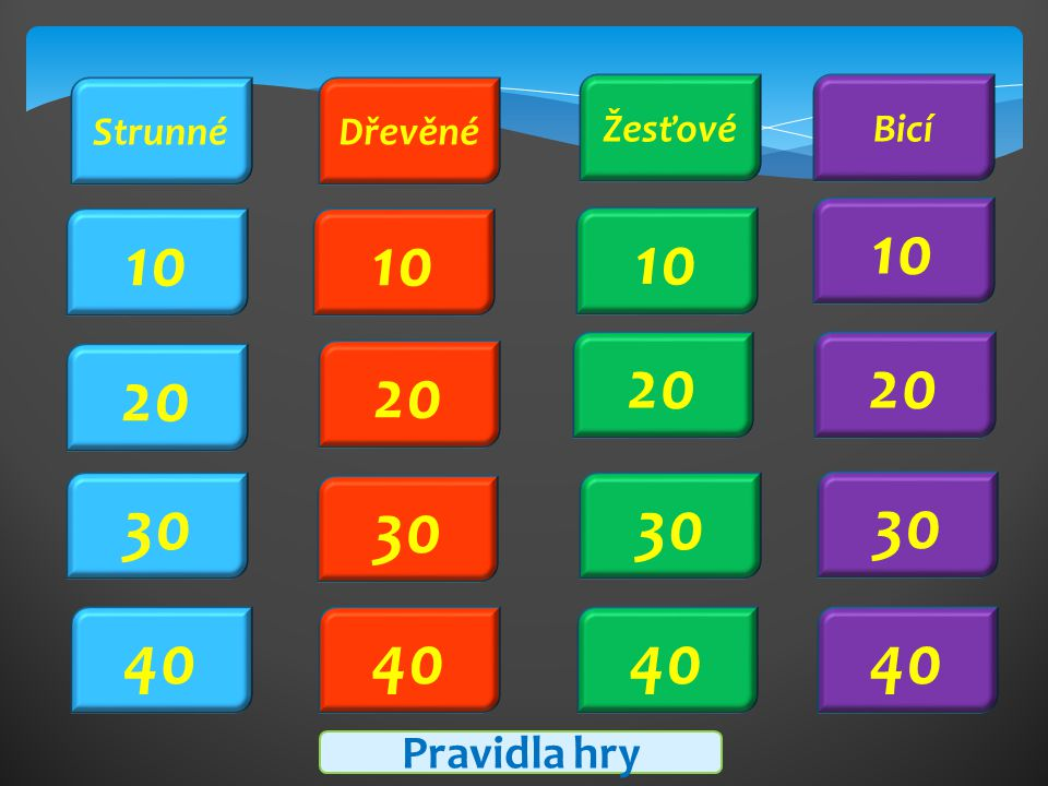 10 20 10 20 30 40 Pravidla hry StrunnéDřevěné ŽesťovéBicí 40