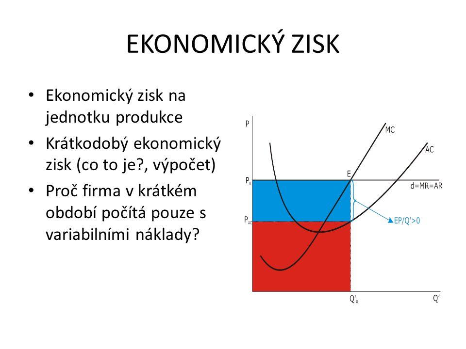 EKONOMICKÝ ZISK Ekonomický zisk na jednotku produkce Krátkodobý ekonomický zisk (co to je?, výpočet) Proč firma v krátkém období počítá pouze s variab