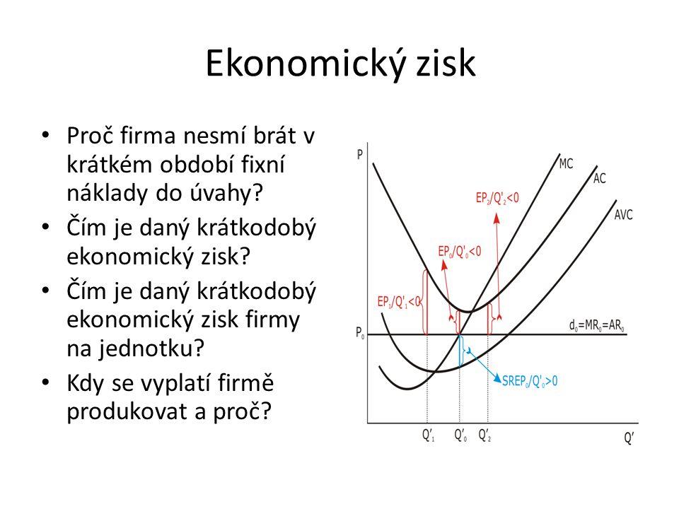 Ekonomický zisk Proč firma nesmí brát v krátkém období fixní náklady do úvahy? Čím je daný krátkodobý ekonomický zisk? Čím je daný krátkodobý ekonomic