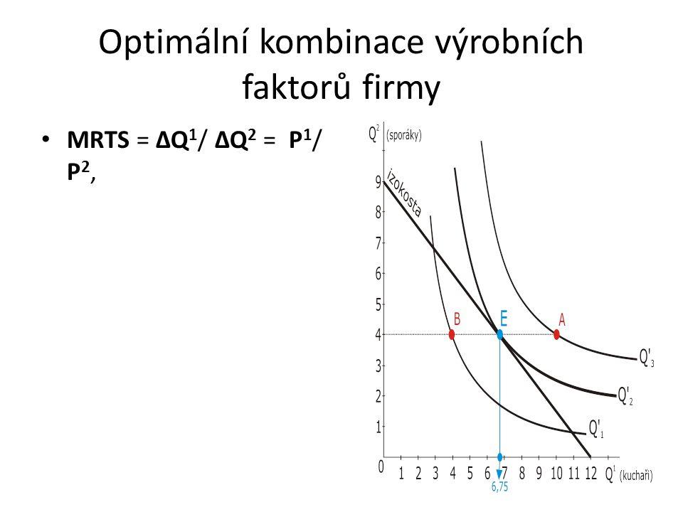 Optimální kombinace výrobních faktorů firmy MRTS = ΔQ 1 / ΔQ 2 = P 1 / P 2,