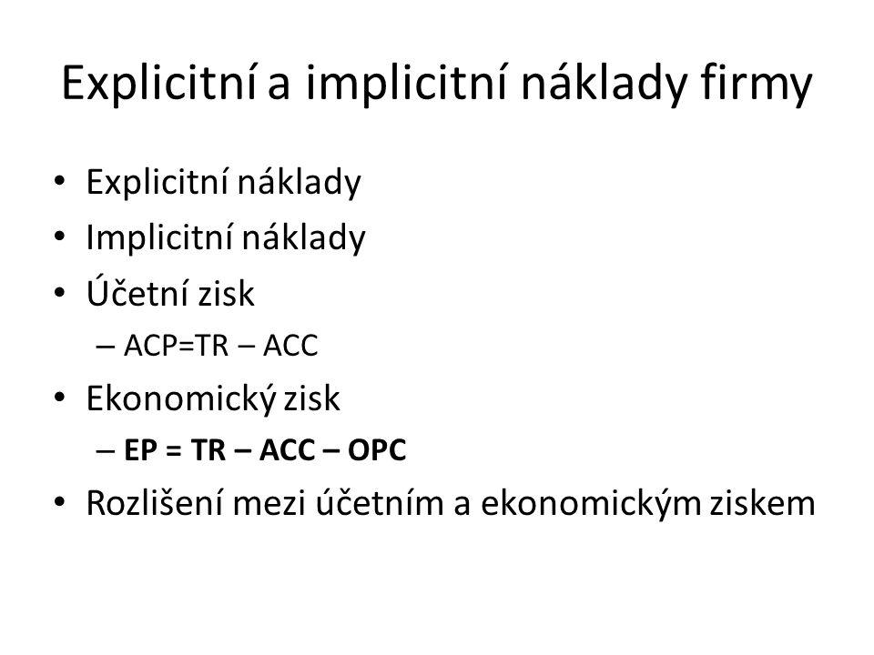 Explicitní a implicitní náklady firmy Explicitní náklady Implicitní náklady Účetní zisk – ACP=TR – ACC Ekonomický zisk – EP = TR – ACC – OPC Rozlišení