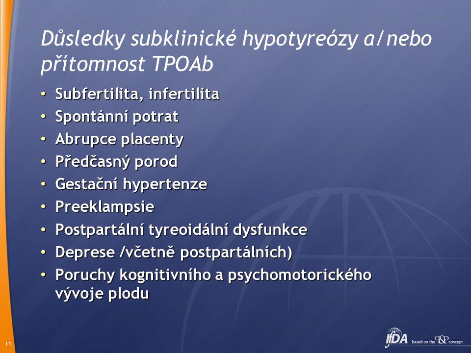 11 Důsledky subklinické hypotyreózy a/nebo přítomnost TPOAb Subfertilita, infertilita Subfertilita, infertilita Spontánní potrat Spontánní potrat Abru
