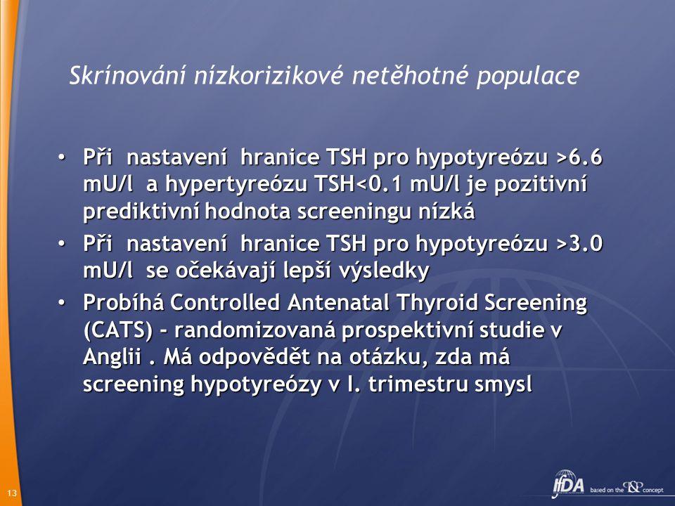 13 Skrínování nízkorizikové netěhotné populace Při nastavení hranice TSH pro hypotyreózu >6.6 mU/l a hypertyreózu TSH 6.6 mU/l a hypertyreózu TSH<0.1