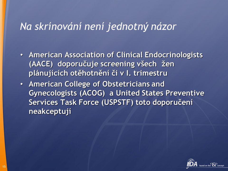 15 Na skrínování není jednotný názor American Association of Clinical Endocrinologists (AACE) doporučuje screening všech žen plánujících otěhotnění či