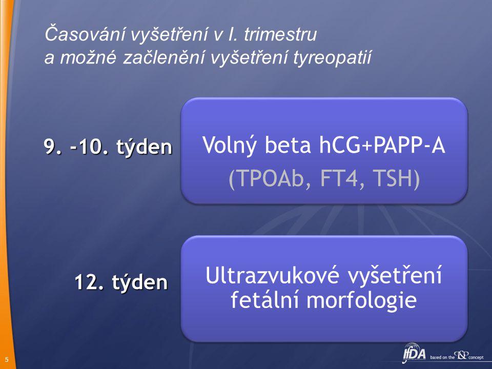 5 Časování vyšetření v I. trimestru a možné začlenění vyšetření tyreopatií Volný beta hCG+PAPP-A (TPOAb, FT4, TSH) Ultrazvukové vyšetření fetální morf