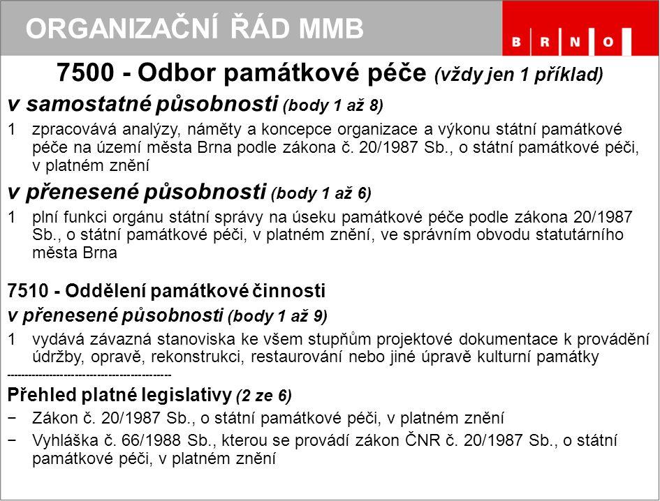 ORGANIZAČNÍ ŘÁD MMB 7500 - Odbor památkové péče (vždy jen 1 příklad) v samostatné působnosti (body 1 až 8) 1zpracovává analýzy, náměty a koncepce orga