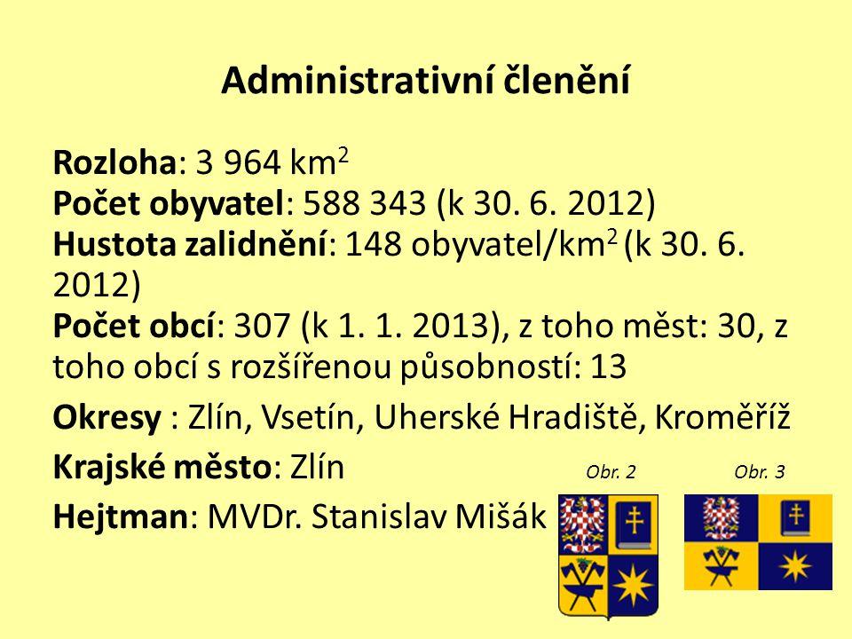Administrativní členění Rozloha: 3 964 km 2 Počet obyvatel: 588 343 (k 30.