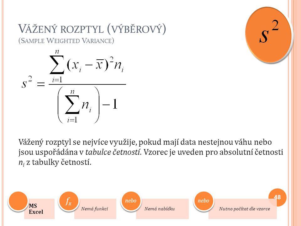 V ÁŽENÝ ROZPTYL ( VÝBĚROVÝ ) (S AMPLE W EIGHTED V ARIANCE ) Vážený rozptyl se nejvíce využije, pokud mají data nestejnou váhu nebo jsou uspořádána v t