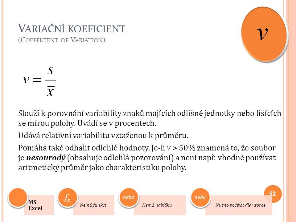 V ARIAČNÍ KOEFICIENT (C OEFFICIENT OF V ARIATION ) Slouží k porovnání variability znaků majících odlišné jednotky nebo lišících se mírou polohy. Uvádí