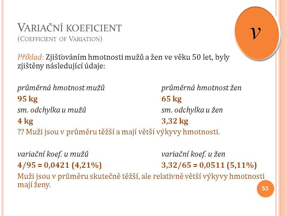 V ARIAČNÍ KOEFICIENT (C OEFFICIENT OF V ARIATION ) Příklad: Zjišťováním hmotnosti mužů a žen ve věku 50 let, byly zjištěny následující údaje: průměrná