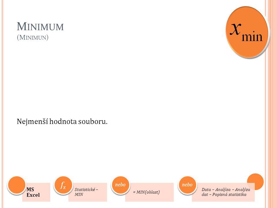 M INIMUM (M INIMUN ) Nejmenší hodnota souboru. 7 MS Excel Statistické – MIN fx = MIN(oblast) nebo Data – Analýza – Analýza dat – Popisná statistika ne