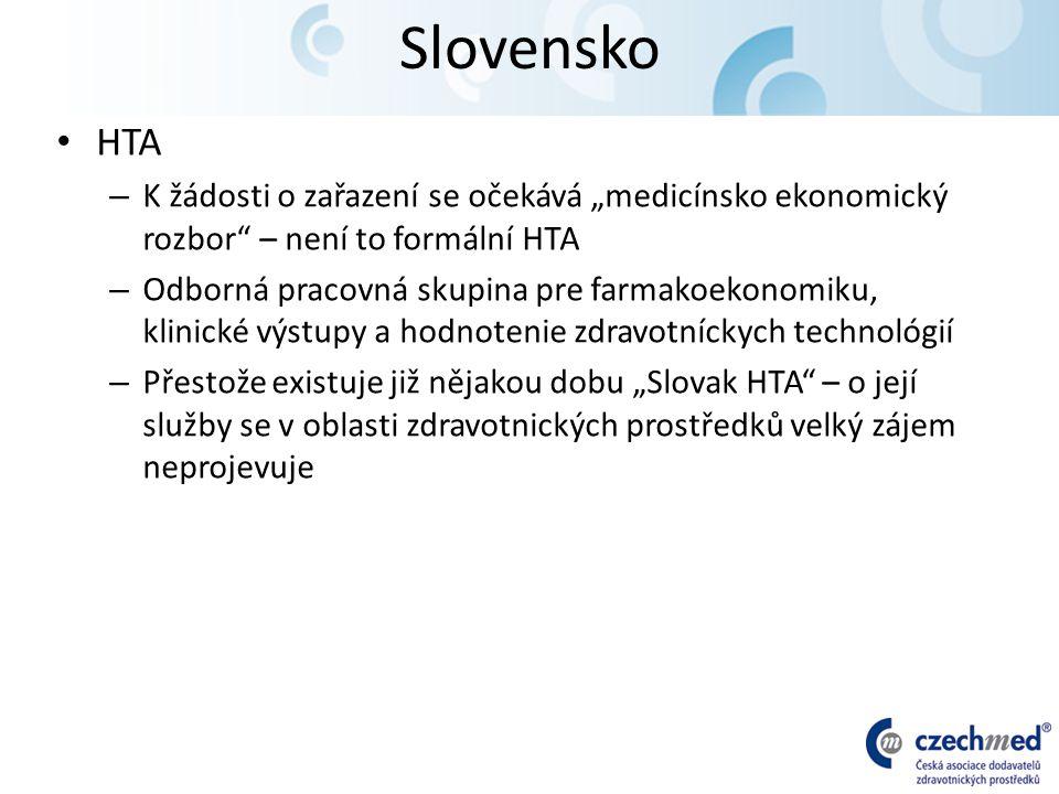 """Slovensko HTA – K žádosti o zařazení se očekává """"medicínsko ekonomický rozbor – není to formální HTA – Odborná pracovná skupina pre farmakoekonomiku, klinické výstupy a hodnotenie zdravotníckych technológií – Přestože existuje již nějakou dobu """"Slovak HTA – o její služby se v oblasti zdravotnických prostředků velký zájem neprojevuje"""